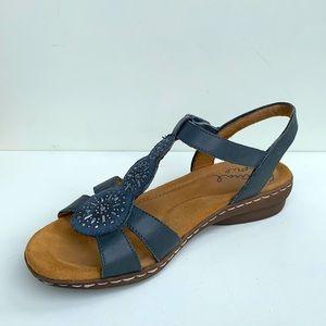 Natural Soul Belle Wedge Sandal Blue 7 Wide